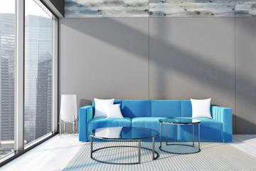Loft gray and blue living room interior