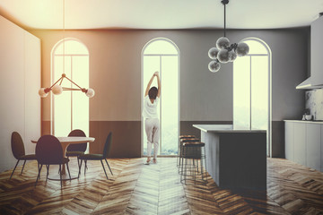 Gray kitchen interior arched windows bar toned