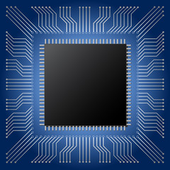 illustration vector of black microchip with copy space on blue mainboard circuit background