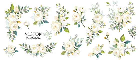 Set of floral branch. Flower white rose, green leaves. Wedding concept. Floral poster, invite. Vector arrangements for greeting card or invitation design background Fototapete