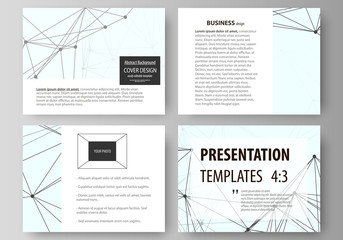 Set of business templates for presentation slides. Abstract vector layouts in flat design. Chemistry pattern, connecting lines and dots, molecule structure on white, geometric graphic background.