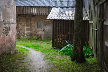 old wooden barns and farm buildings in Sabile, Kurzeme, Latvia