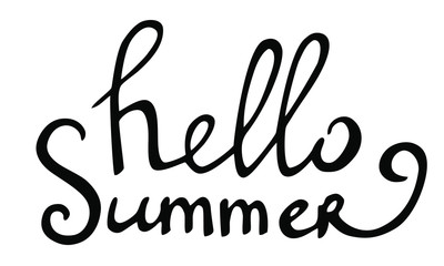 Vector hand drawn lettering hello summer isolated black on white background