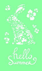 Vector hand drawn lettering hello summer with decorated bunny silhouette and flowers white on green background
