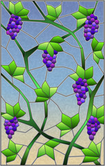 The illustration in stained glass style painting with a bunches of red grapes and leaves on sky background