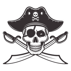 Pirate skull in hat, eyepatch vector illustration