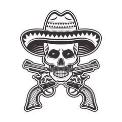 Mexican bandit skull in sombrero hat illustration