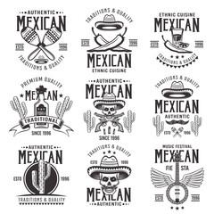 Mexican national attributes vector black emblems