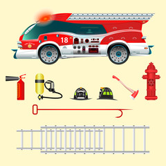 Fire Truck. Creative view. Fire extinguisher, a balloon with air, a helmet, a water tap, a hook, a ladder. Vector illustration