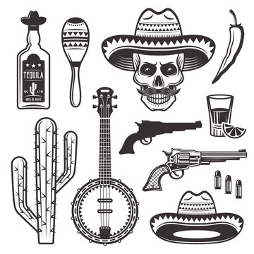 Mexican ethnic attributes set of vector objects