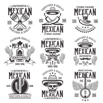 Mexican national attributes vector black emblems