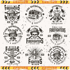 Fire department set of vector vintage emblems