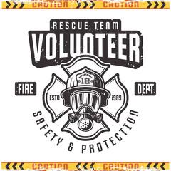 Volunteer vector retro emblem for fire department