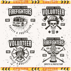 Firefighters set of four vector emblems or labels