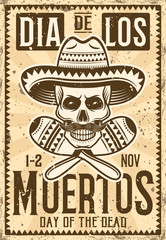 Day of the dead mexican holiday invitation poster