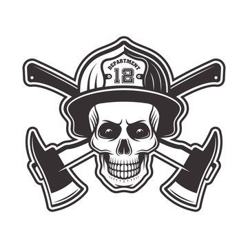 Firefighter skull in helmet vector illustration