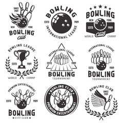 Bowling set of vector emblems, badges and labels