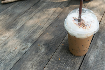 iced coffee mocha on table wood background