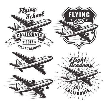 Flying school vector emblems with airplane