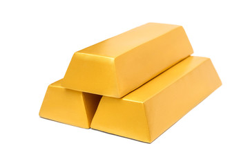 Stack of gold bars isolated on white.