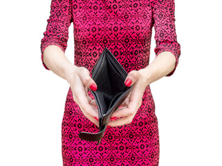 Woman in red dress holding empty wallet. Isolated on white.
