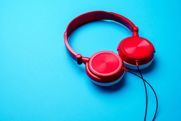 Picture of red headphones on top