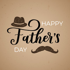 Vintage typographical poster with lettering to Fathers Day. Vector grunge greeting card with hat and moustache on brown background.