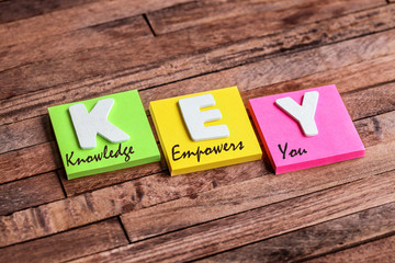 post it : KEY Knowledge Empowers you
