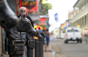 Horse-shaped metal post in the French Quarter of New Orleans, Louisiana
