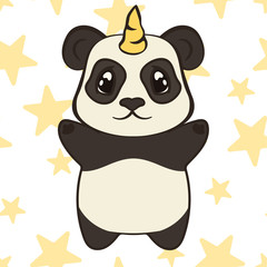 Cute panda bear character with unicorn horn isolated. Panda-unicorn in cartoon style flat design vector illustration. Bearcat stand front view. Funny magic fantasy animal for children. Happy pandacorn