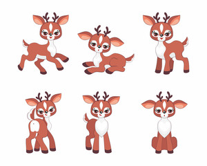 Cute little fawn set. Vector illustrations isolated on a white background.