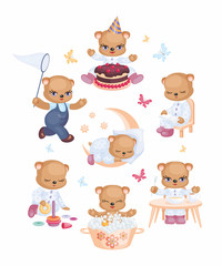 Teddy bear set in a cartoon style. Vector illustrations isolated on a white background.