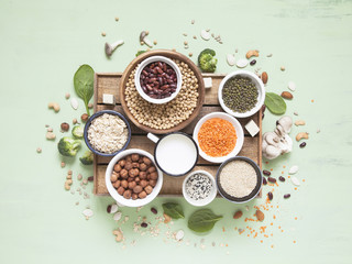 Plant protein sources. Vegan and vegetarian food concept. Flat lay.