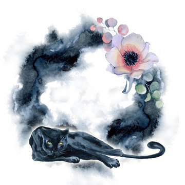 Watercolor composition with black wiled panther and flowers in a black hand drawn swash