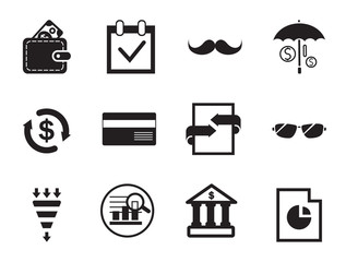 Business flat icons set with bar chart, growing diagram and wallet with money. Thirteen simple icons
