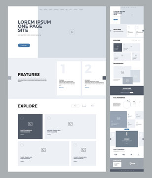 One page website design template for business. Landing page wireframe. Flat modern responsive design. Ux ui website: home, features, explore, impressions, potential, blog, order, company, contacts.