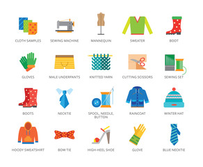 Clothes icons set. Twenty two multicolored flat icons