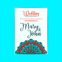 Vector luxury wedding invitation with mandala yoga template