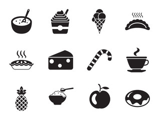 Dessert icons set with pancakes, doughnut and ice-cream. Thirteen simple icons