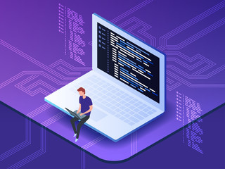 Isometric vector of young programmer coding a new project using computer. Man sitting on the big laptop and working.