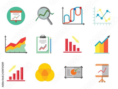 Graph icon set magnifier and graph growing bar chart declining bar magnifier and graph growing bar chart declining bar chart venn diagram clipboard ccuart Choice Image