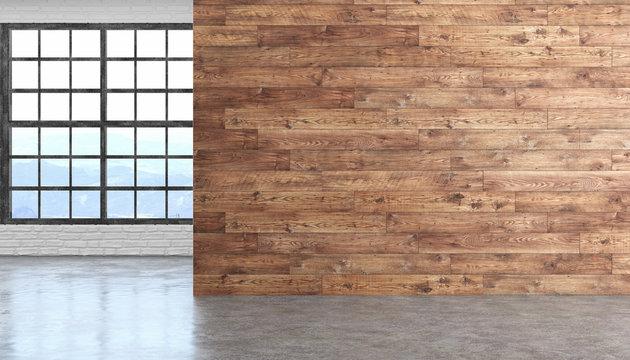 Loft wood empty room interior with concrete floor, window and brickwall.