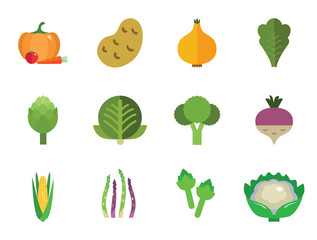 Green food icons set with broccoli, cauliflower and corn cob. Thirteen vector icons