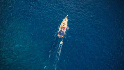 Aerial view of sailling boat