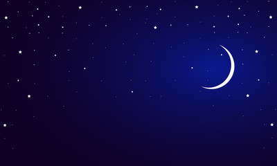 blue night sky with a crescent and stars