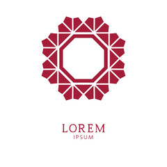 Elegant floral logo. Abstract vector, graphic sign. Red