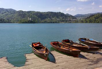 Wooden Rowboats at Lake Bled, Slovenia