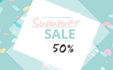 Trendy Sale Banner Design with different hand drawn confetti organic shapes and textures. Social Media Cute backdrop for advertising, web design, posters, invitations, greeting cards, birthday