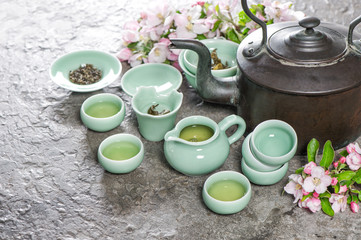 Teapot cups Traditional chinese tea ceremony Asia style stil life