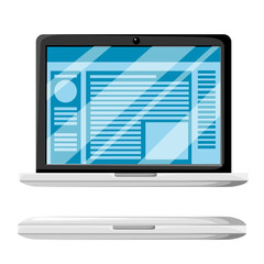 Modern laptop open and close variation. Website or document on display. Glossy display cover. Vector illustration isolated on white background
